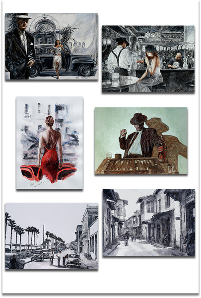 Set of six Art Noir Greeting cards by Theo Michael