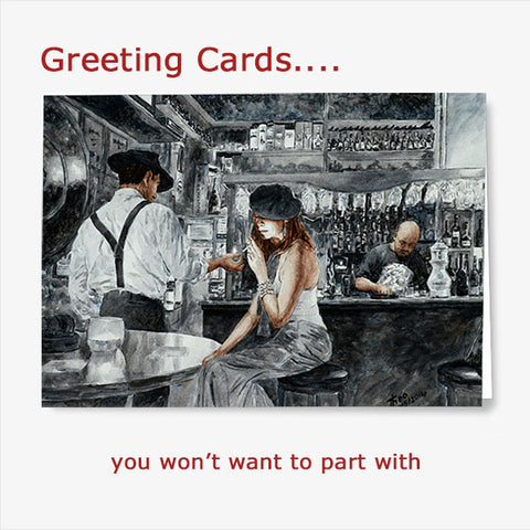 buy Greeting Cards with Art Noir images by Theo Michael