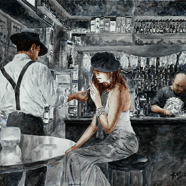 Art Noir Canvas print by Theo Michael, Nightlife at the Art Cafe 1900 in Larnaca