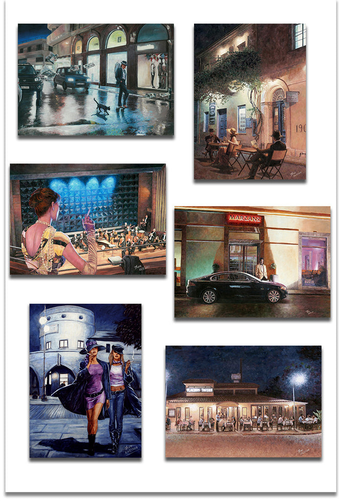 Set of six Nightlife Greeting cards by Theo Michael