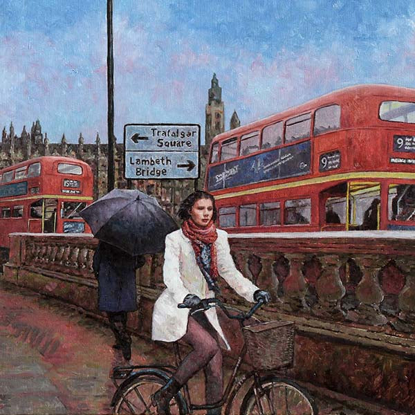 London oil painting, featuring the houses of parliament in the background
