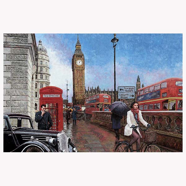 Big Ben oil painting with London Buses and iconic telephone red box