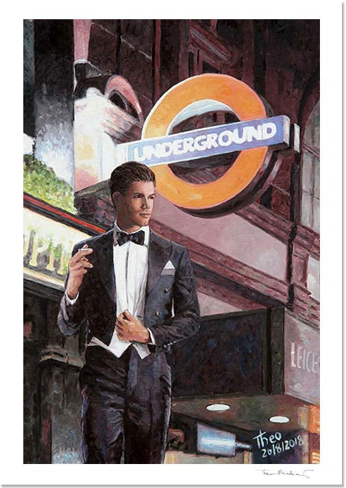paintings London, an oil painting of Leicester Square station by Theo Michael