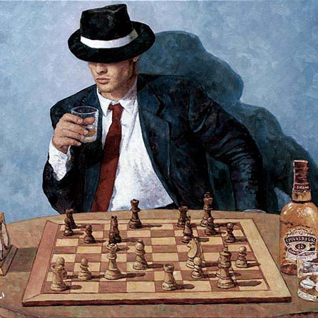 oil painting of a chess player drinking Chivas Regal by Theo Michael