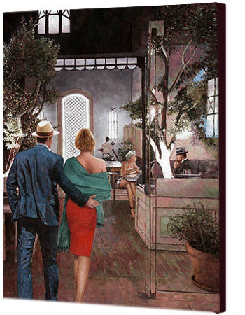 The Anniversary, an oil painting of the Larnaca restaurant, Arxontikon by Theo Michael