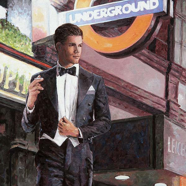 paintings of London, an oil painting of Leicester Square underground station by Theo Michael