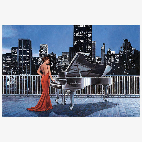 Art Noir Wall Art by Theo Michael, Pianist On The Roof