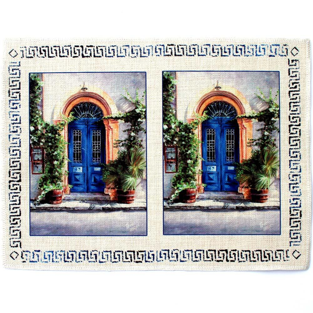 Place mat The Blue Door a Mediterranean art design