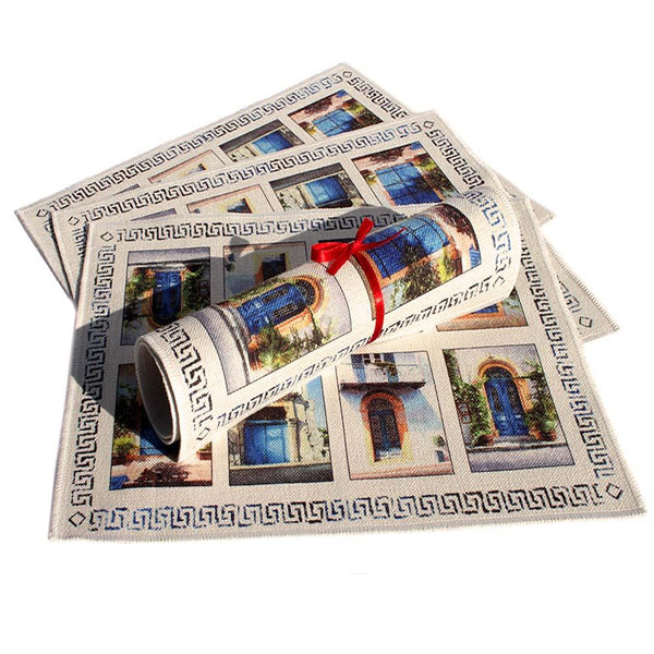 Place mats, Blue Door Collection a Mediterranean art design by Theo Michael