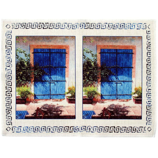Place mat, Mediterranean design of blue door in Summer Light
