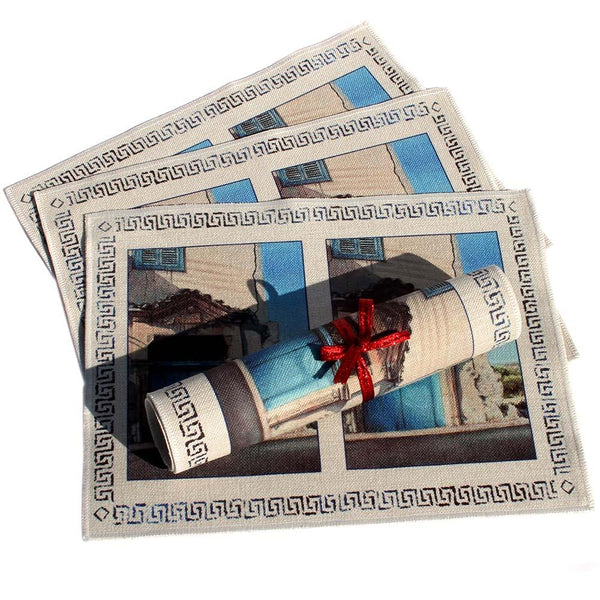 Place mats Mediterranean art design of Village Blue Door by Theo Michael