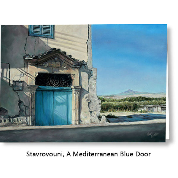 Greeting card, Stavrovouni cyprus mountain, blue doors