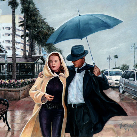 Art Noir Wall Art by Theo Michael, Larnaca Promenade in the rain