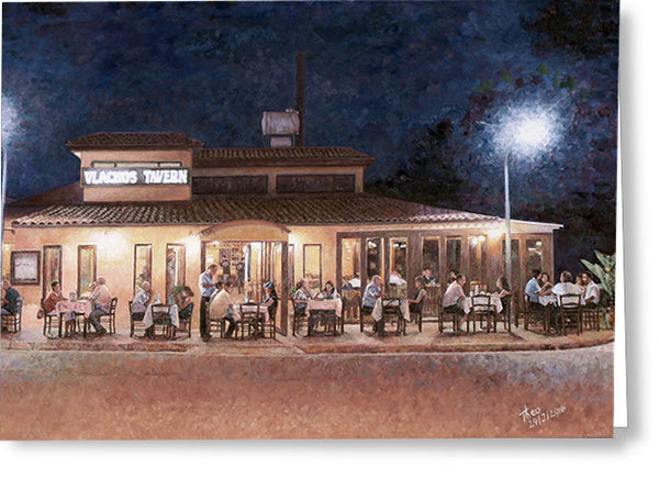 Greeting Cards By Theo Michael, Taverna At Night