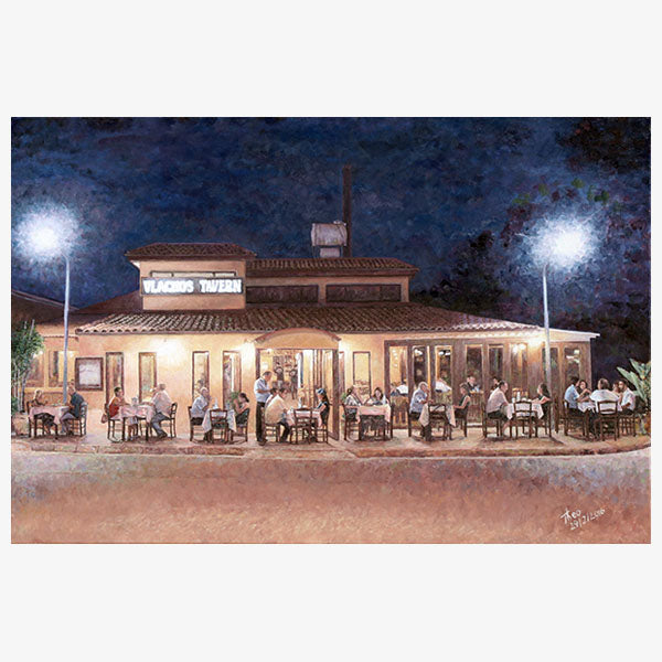 Taverna At Night an oil painting of a Cypriot taverna by Theo Michael