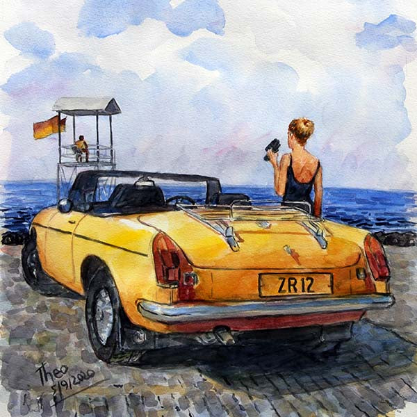 Watercolour study, The Yellow MG
