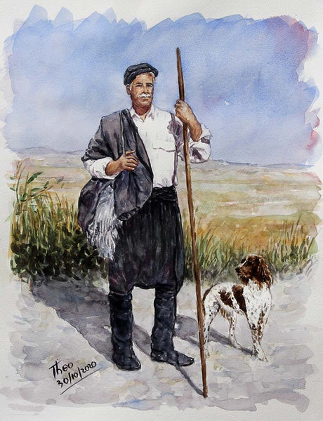 watercolour sketch, a Shepherd and his dog in a Mediterranean landscape by Theo Michael