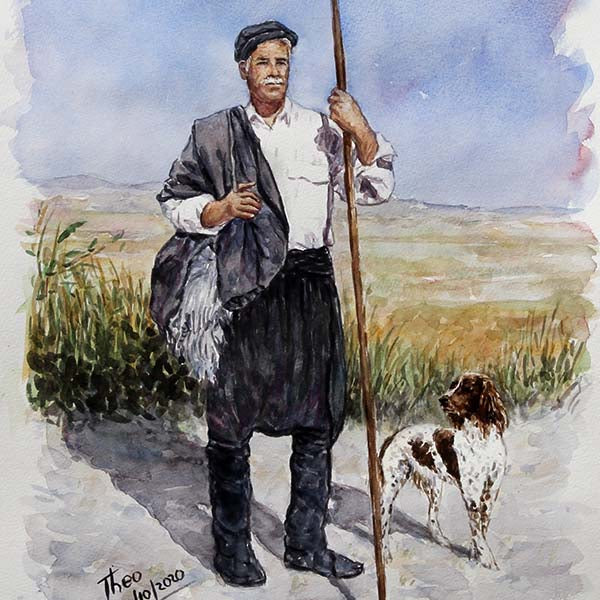 watercolour painting, a Shepherd and his dog in a Mediterranean landscape by Theo Michael
