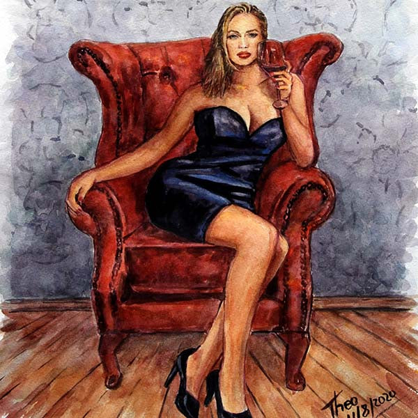watercolour sketch by Theo Michael, Lady In The Armchair