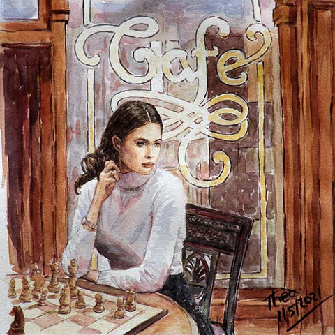 watercolour painting girl playing chess by Theo Michael