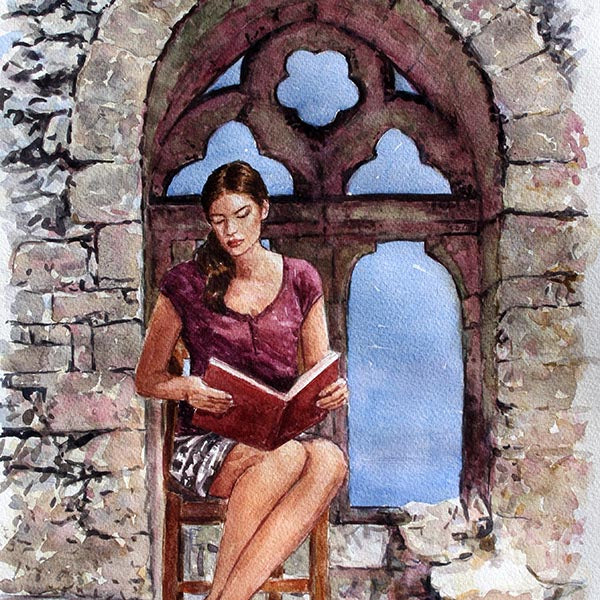 Watercolour painting, Bellapais Abbey, Cyprus traditions, The Reader