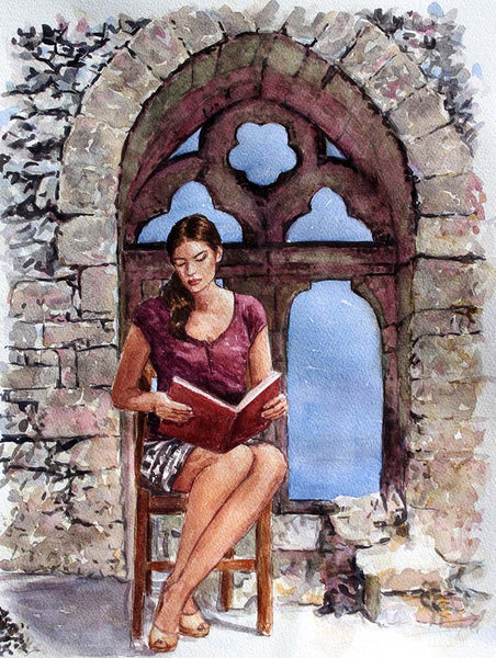 watercolour study, Bellapais Cyprus paintings by Theo Michael