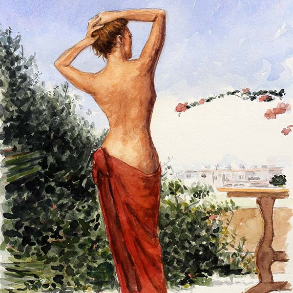 Cyprus watercolour painting, The Muse  by Theo Michael