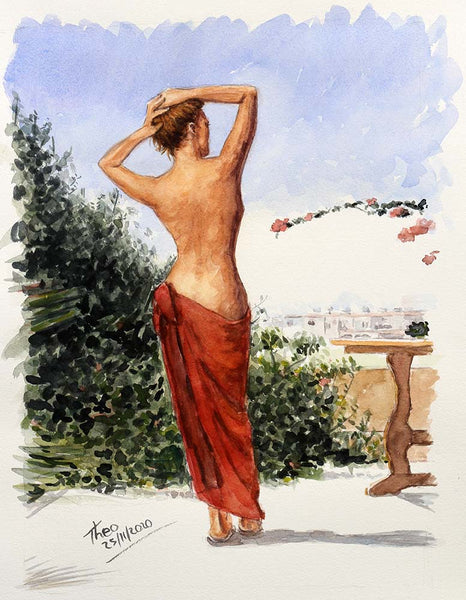 watercolour painting, The Muse in Cyprus by Theo Michael