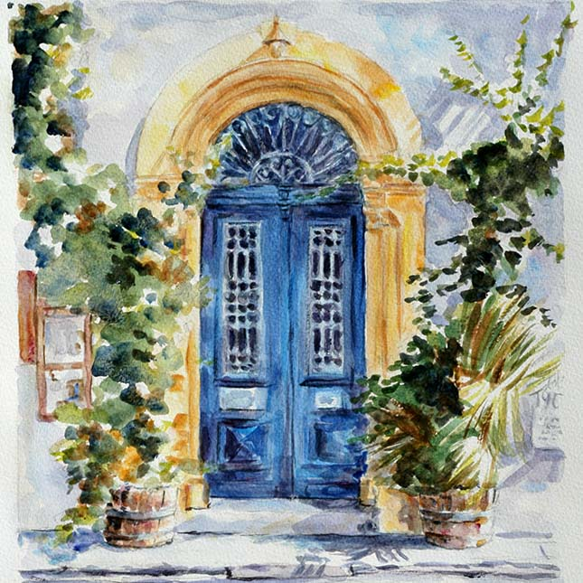 watercolour study, Cyprus blue door by Theo Michael
