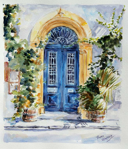 watercolour painting, Cyprus blue door by Theo Michael