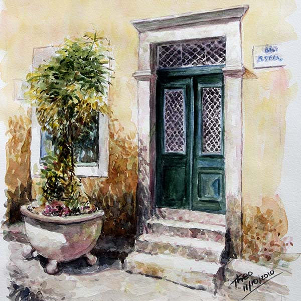 watercolour painting, green door in Cyprus by Theo Michael