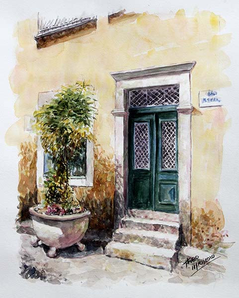 watercolour painting of a Cyprus Green Door by Theo Michael