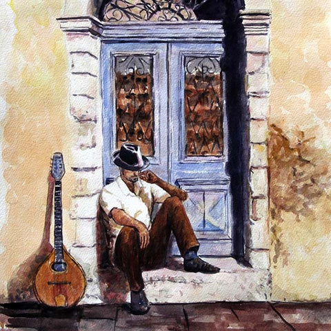 watercolour sketch  by Theo Michael The Bouzouki Player, a Cyprus inspired painting