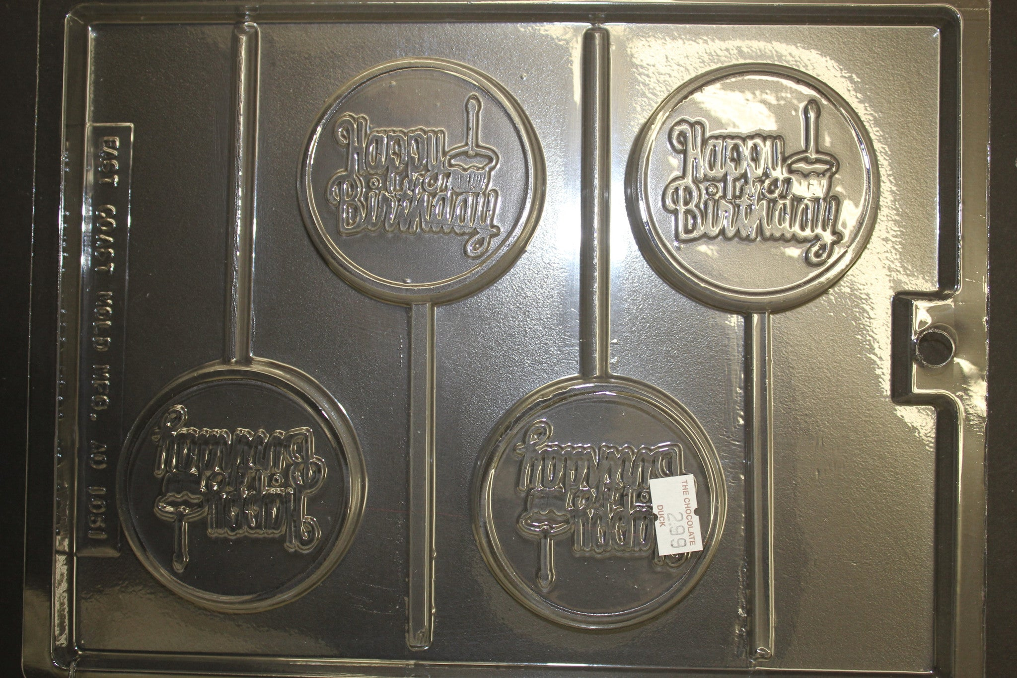 4 Happy Birthday with cake on Round Pops Candy Chocolate Mold
