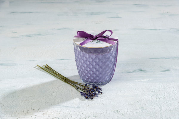 Sonoma Lavender Round Diamond Glass Candle