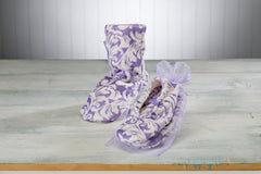Lilac Fleur Heated Footies, Spa Booties and Mittens