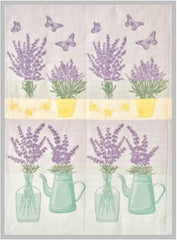 European Tea Towel - Lavender, Butterflies & Aqua Bottles