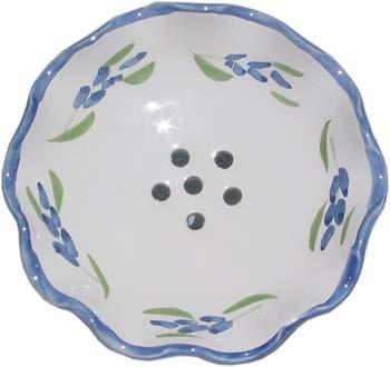 French Faience Soap Dish - Round French Lavender