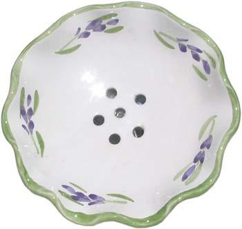 French Faience Soap Dish - Round French Green Lavender