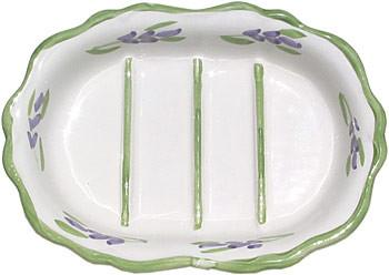 French Faience Soap Dish - Oval Green Lavender