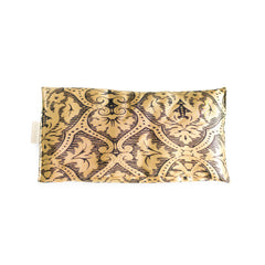 Elizabeth W Silk Eye Pillow - Black Gold Damask