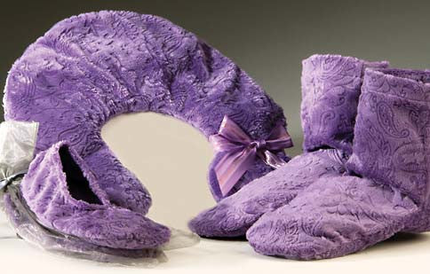 Embossed Paisley Heated Footies, Neck pillow & Spa Booties