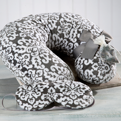 Gray Damask Travel Pillow & Sleep Mask - Sonoma Lavender Shop