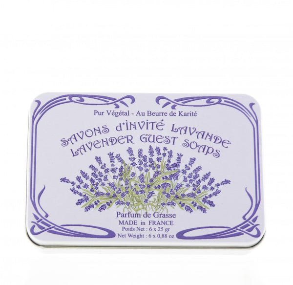 Le Blanc Lavender Guest Soaps in a Decorative Tin