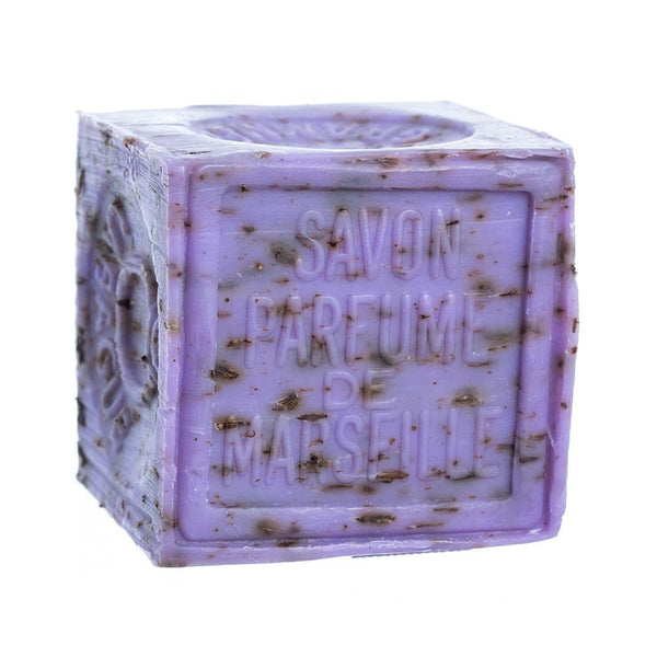French Soaps Savon de Marseille with Crushed Flowers 300gm - Lavender