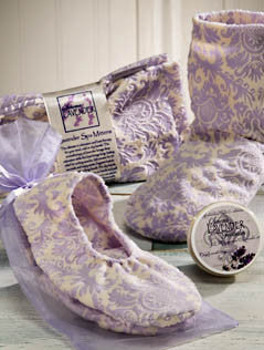 Sonoma Lavender Lilac Damask Heated Booties, Mittens and Footies
