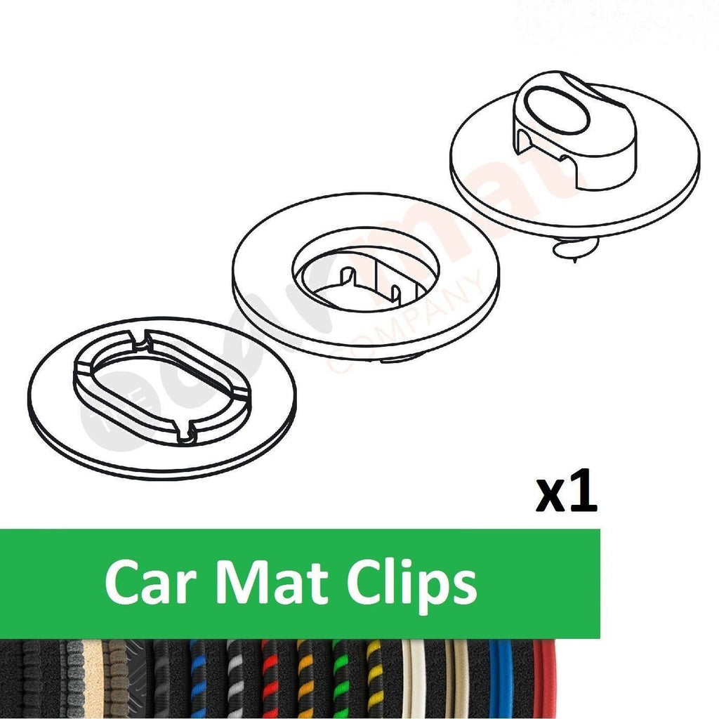View of a collection of custom car mats, specifically Alfa Romeo 159 (2005-2011) Car Mat Clips