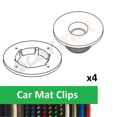 View of a collection of custom car mats, specifically Peugeot Car Mat Clips (Round)