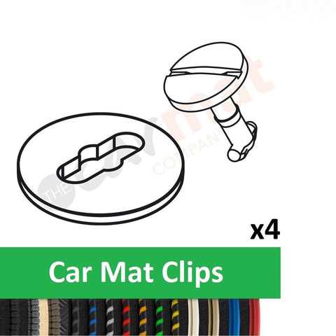 View of a collection of custom car mats, specifically BMW Car Mat Clips (T-Clips)
