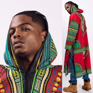 Zip Up Leather Trim Edition Long Dashikis w/ Long Sleeves